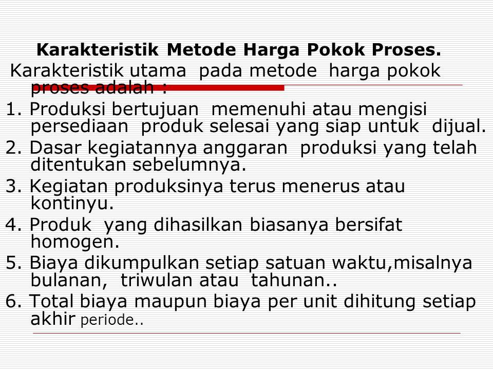 Karakteristik Metode Harga Pokok Proses. Karakteristik utama pada metode harga pokok proses adalah : 1. Produksi bertujuan memenuhi atau mengisi perse