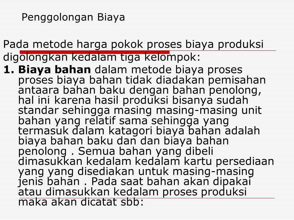 Penggolongan Biaya Pada metode harga pokok proses biaya produksi digolongkan kedalam tiga kelompok: 1. Biaya bahan dalam metode biaya proses proses bi