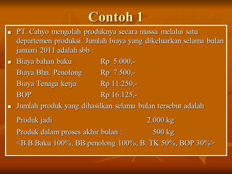 Contoh 1 PT. Cahyo mengolah produknya secara massa melalui satu departemen produksi. Jumlah biaya yang dikeluarkan selama bulan januari 2011 adalah sb