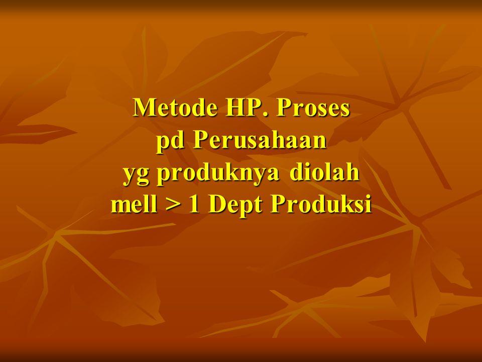 Metode HP. Proses pd Perusahaan yg produknya diolah mell > 1 Dept Produksi