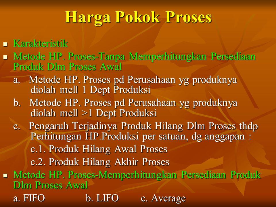 Harga Pokok Proses Karakteristik Karakteristik Metode HP. Proses-Tanpa Memperhitungkan Persediaan Produk Dlm Proses Awal Metode HP. Proses-Tanpa Mempe