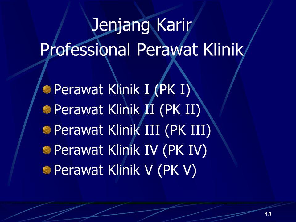 13 Jenjang Karir Professional Perawat Klinik Perawat Klinik I (PK I) Perawat Klinik II (PK II) Perawat Klinik III (PK III) Perawat Klinik IV (PK IV) P
