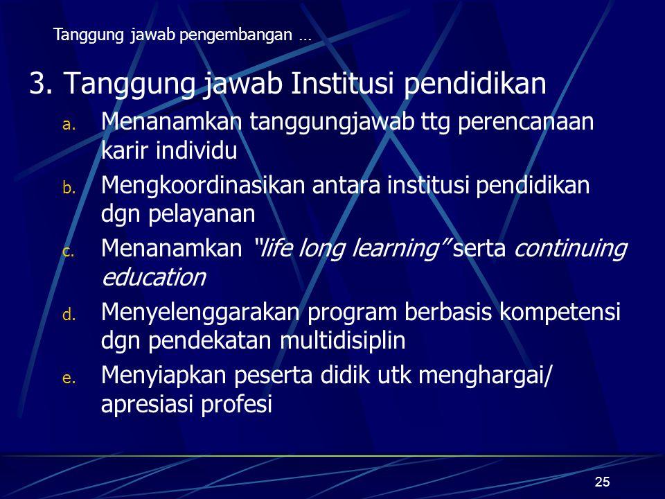 25 3. Tanggung jawab Institusi pendidikan a. Menanamkan tanggungjawab ttg perencanaan karir individu b. Mengkoordinasikan antara institusi pendidikan