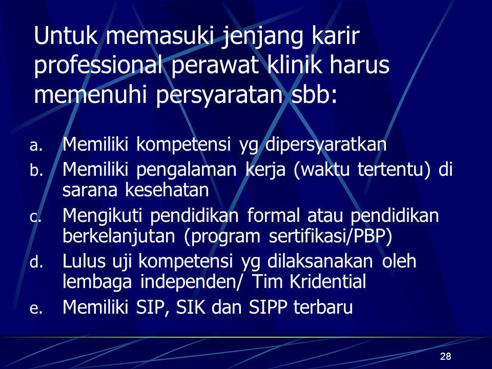 28 Untuk memasuki jenjang karir professional perawat klinik harus memenuhi persyaratan sbb: a. Memiliki kompetensi yg dipersyaratkan b. Memiliki penga