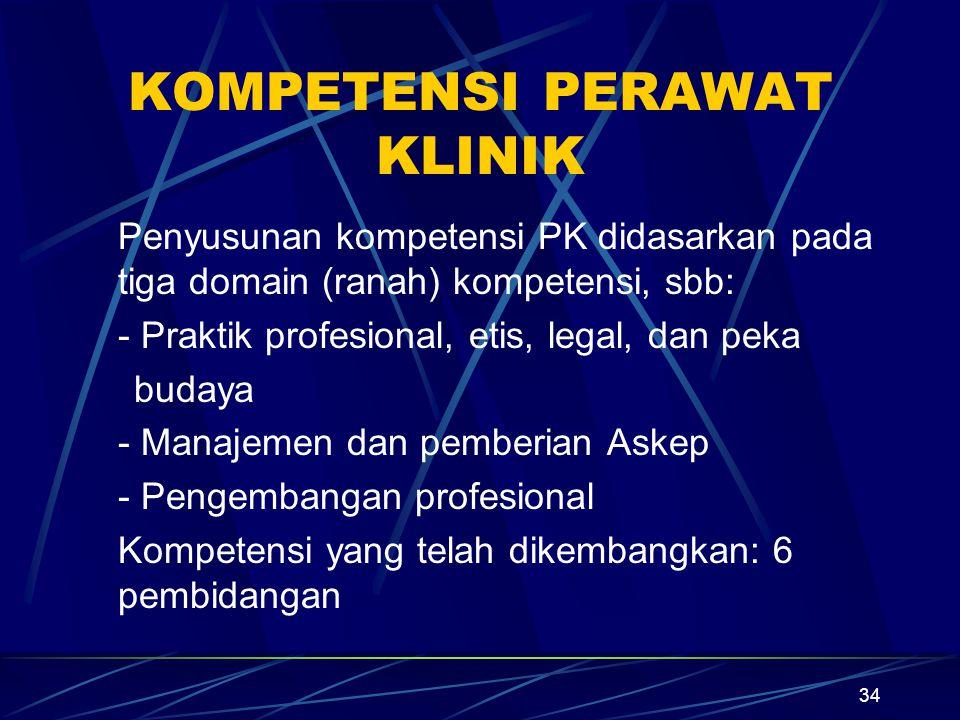 34 KOMPETENSI PERAWAT KLINIK Penyusunan kompetensi PK didasarkan pada tiga domain (ranah) kompetensi, sbb: - Praktik profesional, etis, legal, dan pek