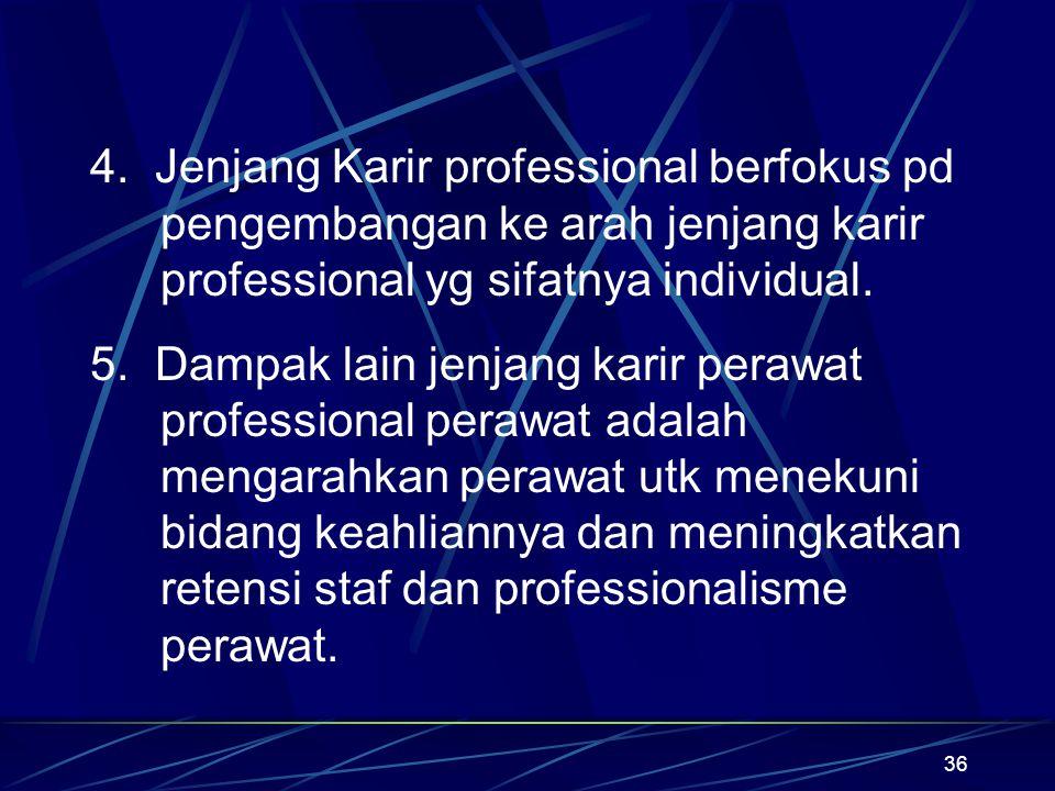 36 4. Jenjang Karir professional berfokus pd pengembangan ke arah jenjang karir professional yg sifatnya individual. 5. Dampak lain jenjang karir pera