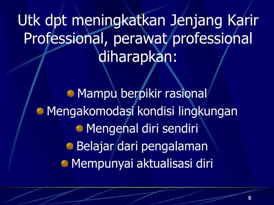 7 Pengembangan sistem Jenjang Karir professional perawat dicapai melalui: Pendidikan formal Pendidikan berkelanjutan berbasis kompetensi Pengalaman kerja di sarana kesehatan