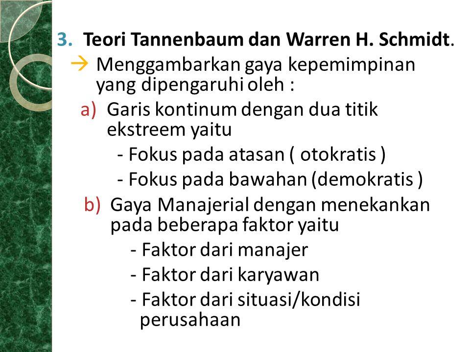 3.Teori Tannenbaum dan Warren H. Schmidt.  Menggambarkan gaya kepemimpinan yang dipengaruhi oleh : a)Garis kontinum dengan dua titik ekstreem yaitu -