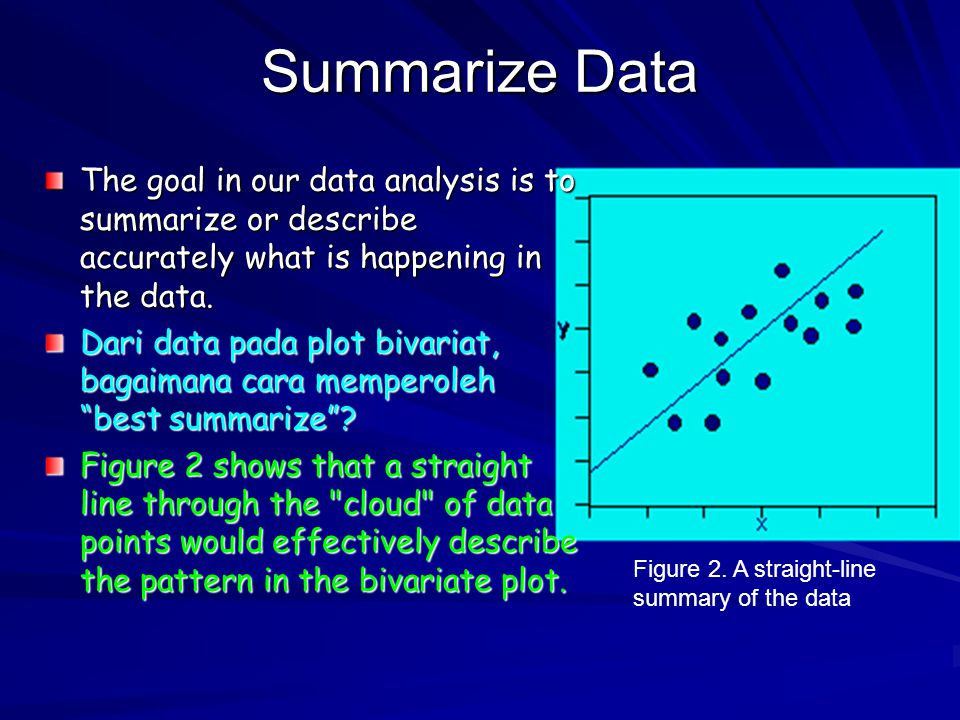Summarize Data The goal in our data analysis is to summarize or describe accurately what is happening in the data.