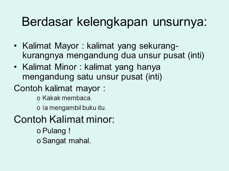 PENGERTIAN KALIMAT VERSI Kalimat versi adalah kalimat yang susunannya sesuai dengan tata bahasa indonesia (S-P-O-K) Contoh : –Ia bekerja di Jakarta –I