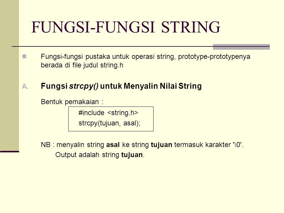 FUNGSI-FUNGSI STRING Fungsi-fungsi pustaka untuk operasi string, prototype-prototypenya berada di file judul string.h A. Fungsi strcpy() untuk Menyali
