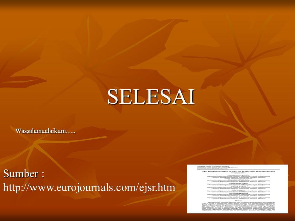 SELESAIWassalamualaikum….. Sumber : Sumber : http://www.eurojournals.com/ejsr.htm