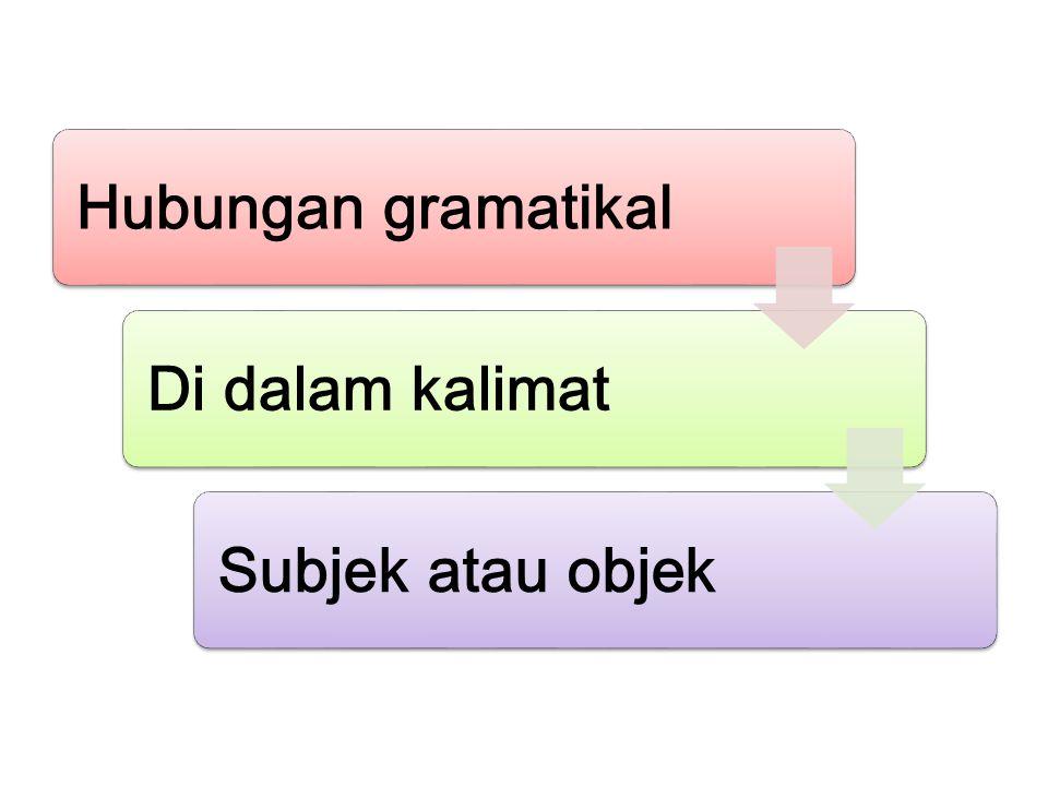 Hubungan gramatikalDi dalam kalimatSubjek atau objek