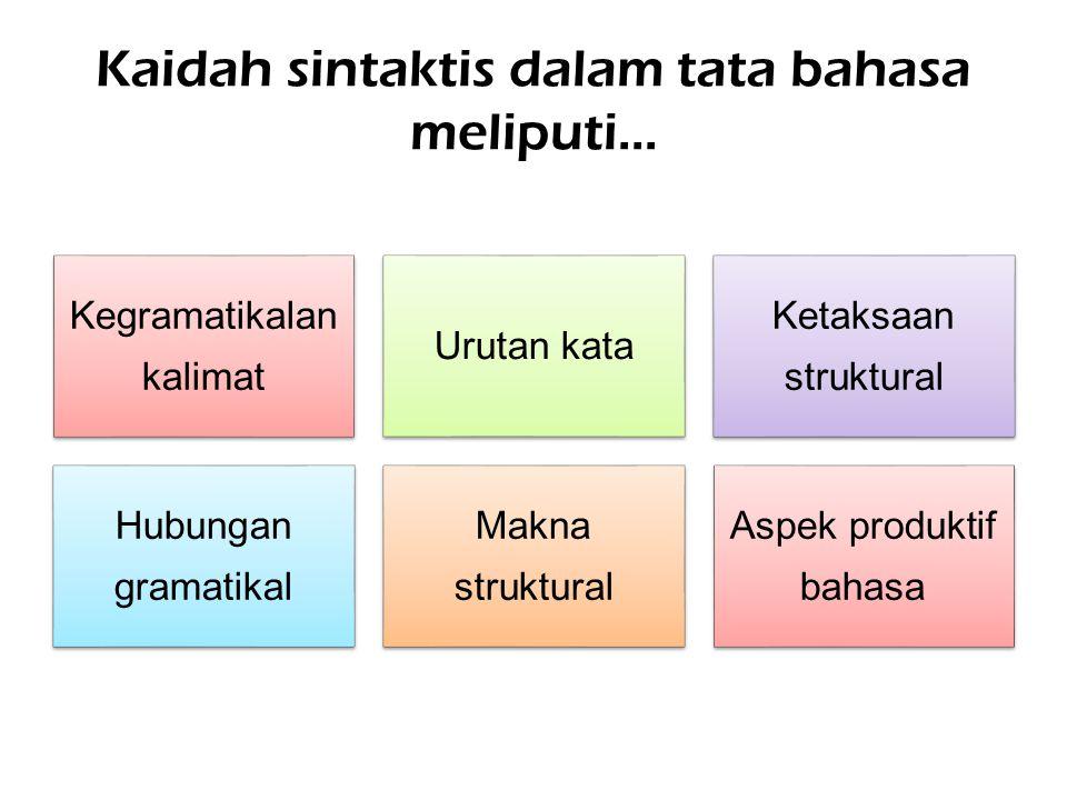 Kaidah sintaktis dalam tata bahasa meliputi... Kegramatikalan kalimat Urutan kata Ketaksaan struktural Hubungan gramatikal Makna struktural Aspek prod