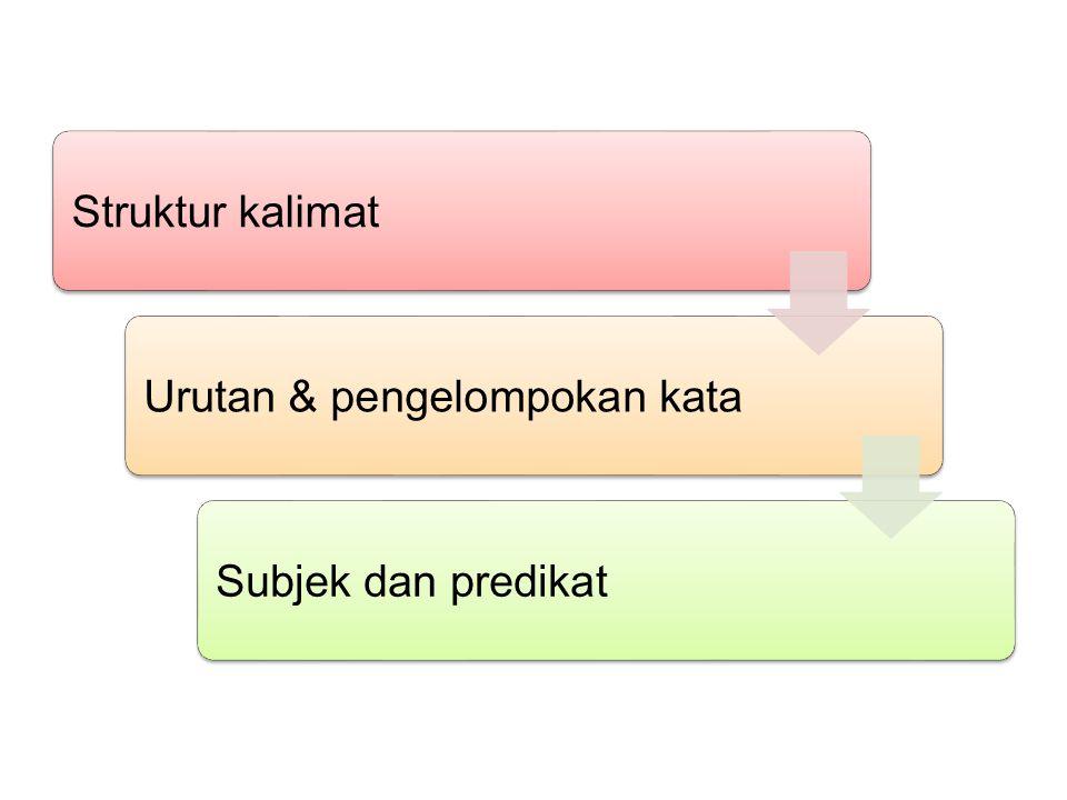 Struktur kalimatUrutan & pengelompokan kataSubjek dan predikat