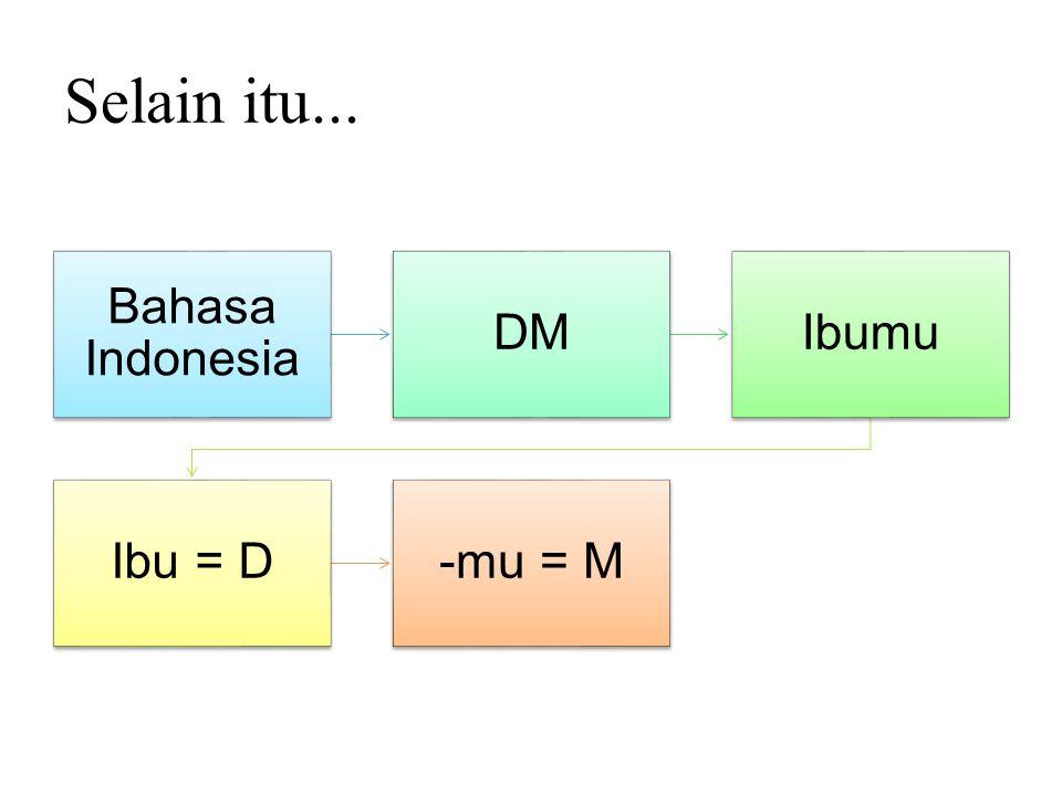 Selain itu... Bahasa Indonesia DMIbumu Ibu = D-mu = M