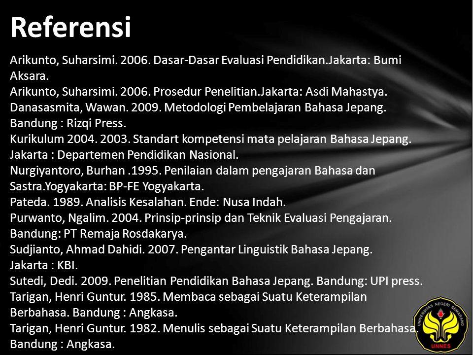 Referensi Arikunto, Suharsimi. 2006. Dasar-Dasar Evaluasi Pendidikan.Jakarta: Bumi Aksara.