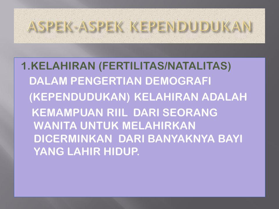 1.KELAHIRAN (FERTILITAS/NATALITAS) DALAM PENGERTIAN DEMOGRAFI (KEPENDUDUKAN) KELAHIRAN ADALAH KEMAMPUAN RIIL DARI SEORANG WANITA UNTUK MELAHIRKAN DICE