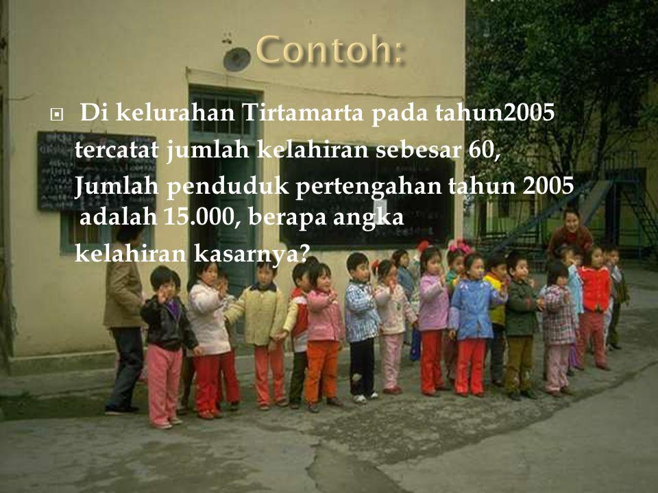  Di kelurahan Tirtamarta pada tahun2005 tercatat jumlah kelahiran sebesar 60, Jumlah penduduk pertengahan tahun 2005 adalah 15.000, berapa angka kela