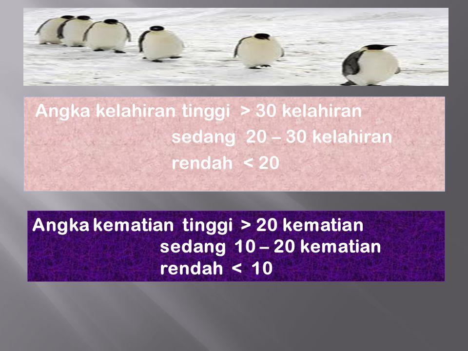 Angka kelahiran tinggi > 30 kelahiran sedang 20 – 30 kelahiran rendah < 20 Angka kematian tinggi > 20 kematian sedang 10 – 20 kematian rendah < 10