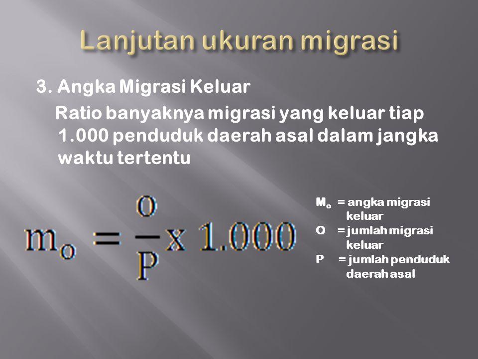 3. Angka Migrasi Keluar Ratio banyaknya migrasi yang keluar tiap 1.000 penduduk daerah asal dalam jangka waktu tertentu M o = angka migrasi keluar O =