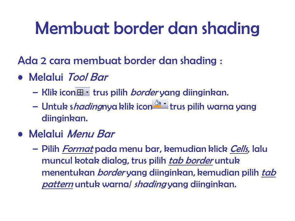 Membuat border dan shading Ada 2 cara membuat border dan shading : Melalui Tool Bar –Klik icon trus pilih border yang diinginkan. –Untuk shadingnya kl