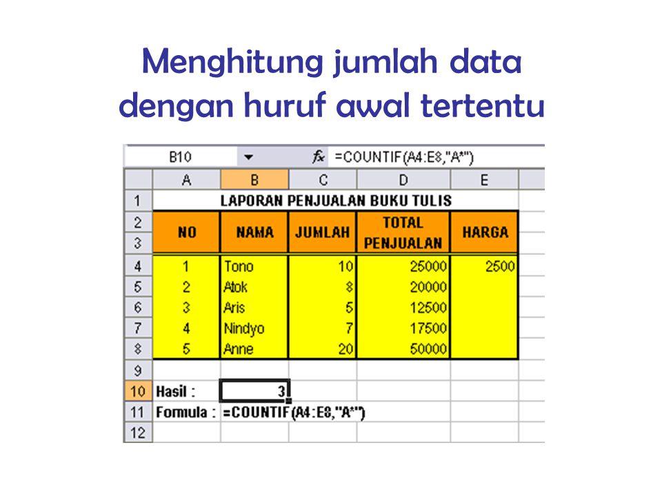 Menghitung jumlah data dengan huruf awal tertentu