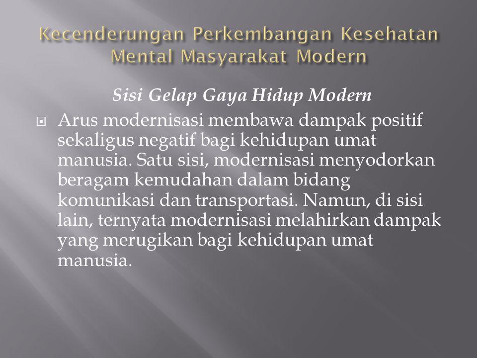 Sisi Gelap Gaya Hidup Modern  Arus modernisasi membawa dampak positif sekaligus negatif bagi kehidupan umat manusia. Satu sisi, modernisasi menyodork