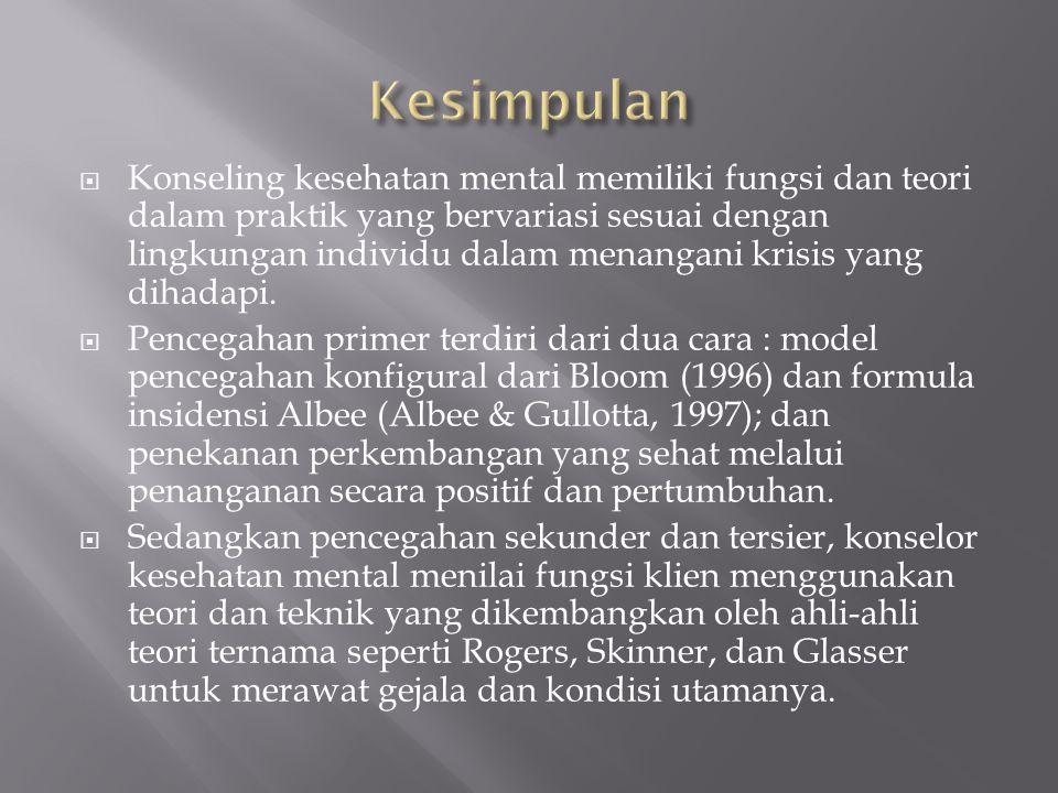  Konseling kesehatan mental memiliki fungsi dan teori dalam praktik yang bervariasi sesuai dengan lingkungan individu dalam menangani krisis yang dih