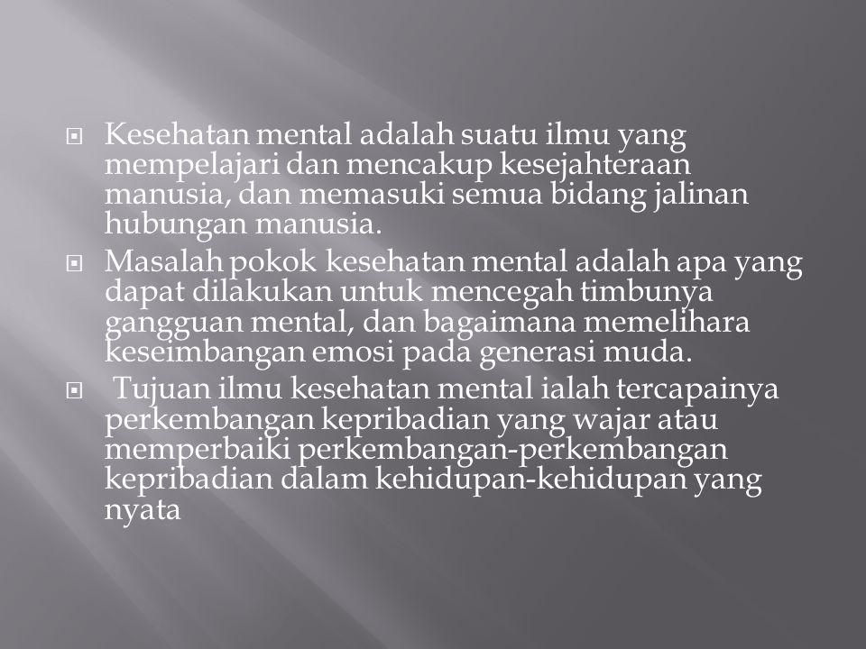  Kesehatan mental adalah suatu ilmu yang mempelajari dan mencakup kesejahteraan manusia, dan memasuki semua bidang jalinan hubungan manusia.  Masala