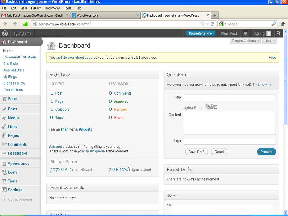 Melihat Tampilan Blog Pertama Klik kanan open new tab