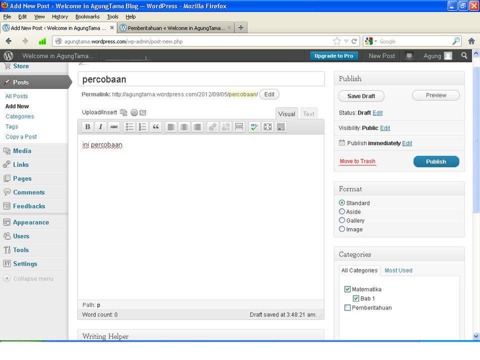  Setelah selesai menulis kemudian klik tombol Publish jika anda ingin menampilkan.