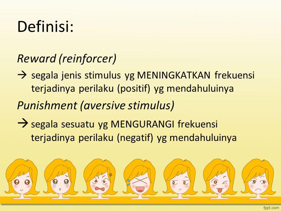 Definisi: Reward (reinforcer)  segala jenis stimulus yg MENINGKATKAN frekuensi terjadinya perilaku (positif) yg mendahuluinya Punishment (aversive stimulus)  segala sesuatu yg MENGURANGI frekuensi terjadinya perilaku (negatif) yg mendahuluinya