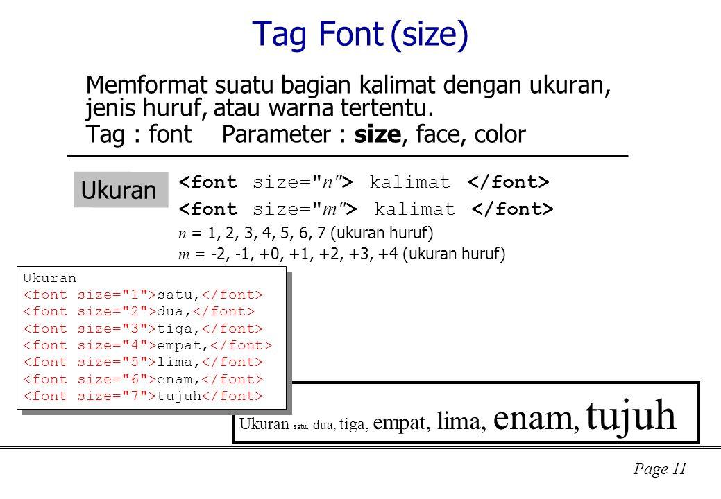 Page 11 Tag Font (size) Memformat suatu bagian kalimat dengan ukuran, jenis huruf, atau warna tertentu.