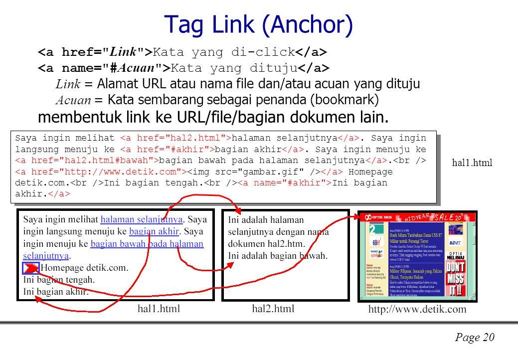 Page 20 Tag Link (Anchor) Kata yang di-click Kata yang dituju Link = Alamat URL atau nama file dan/atau acuan yang dituju Acuan = Kata sembarang sebagai penanda (bookmark) membentuk link ke URL/file/bagian dokumen lain.