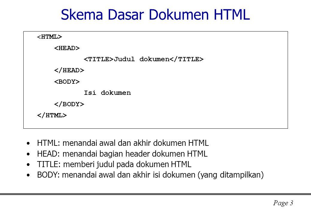 Page 3 Skema Dasar Dokumen HTML Judul dokumen Isi dokumen HTML: menandai awal dan akhir dokumen HTML HEAD: menandai bagian header dokumen HTML TITLE: memberi judul pada dokumen HTML BODY: menandai awal dan akhir isi dokumen (yang ditampilkan)