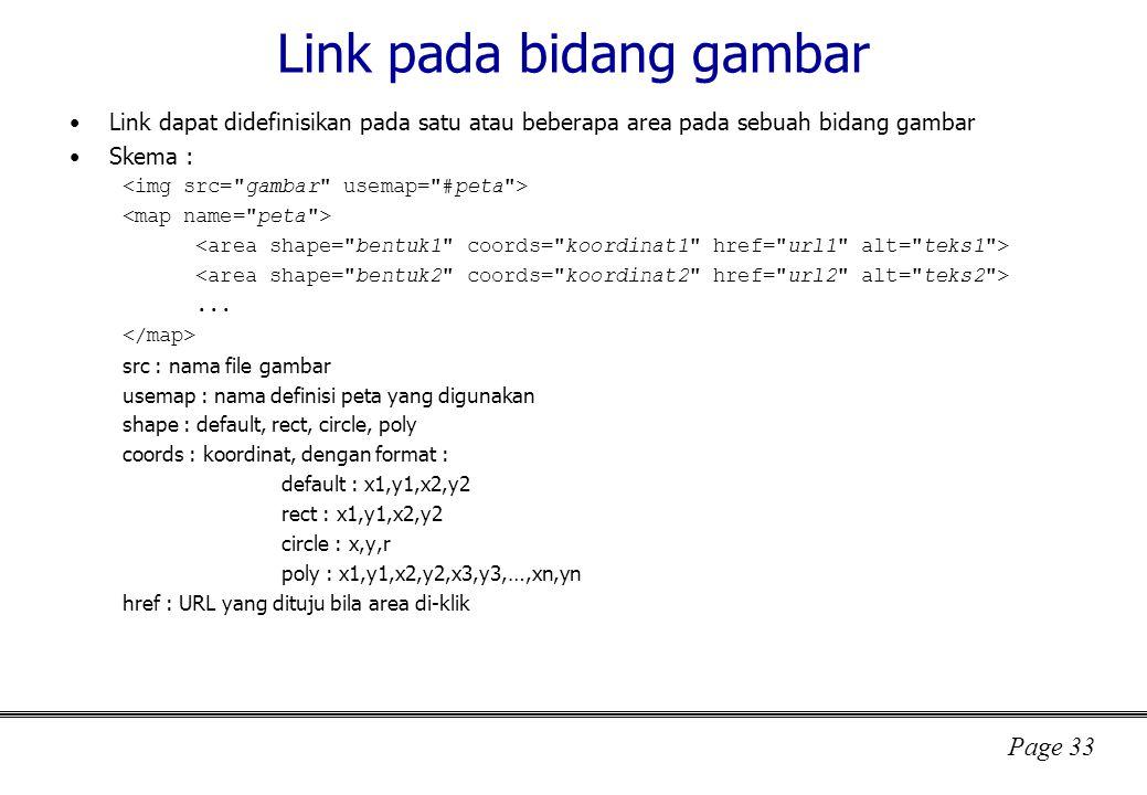 Page 33 Link pada bidang gambar Link dapat didefinisikan pada satu atau beberapa area pada sebuah bidang gambar Skema :...