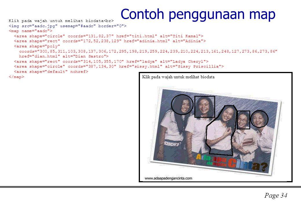 Page 34 Contoh penggunaan map Klik pada wajah untuk melihat biodata <area shape= poly coords= 300,85,311,103,308,137,306,172,295,198,219,259,224,239,210,224,213,161,248,127,273,86,273,86 href= dian.html alt= Dian Sastro > Klik pada wajah untuk melihat biodata