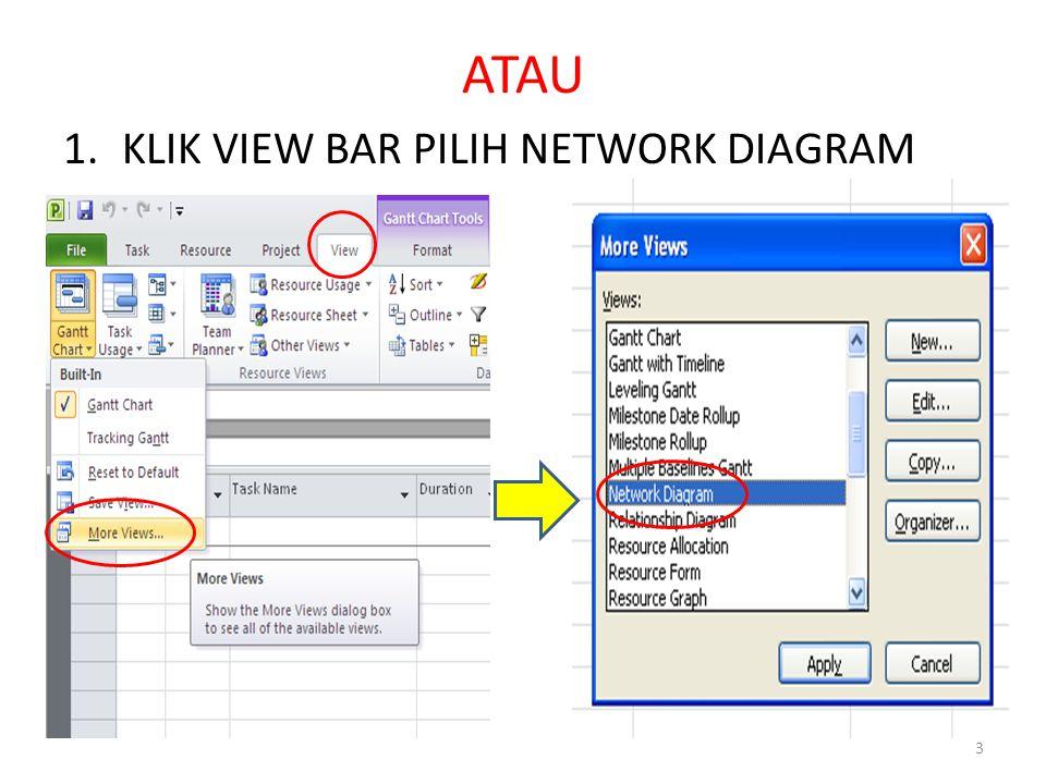 ATAU 1.KLIK VIEW BAR PILIH NETWORK DIAGRAM 3