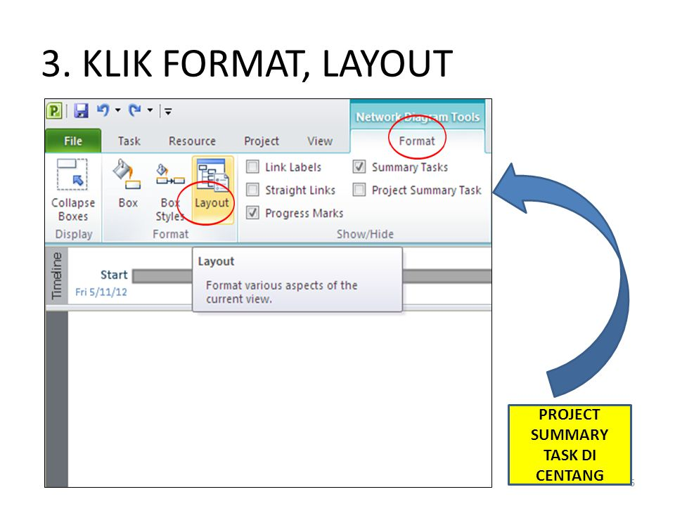 3. KLIK FORMAT, LAYOUT 6 PROJECT SUMMARY TASK DI CENTANG