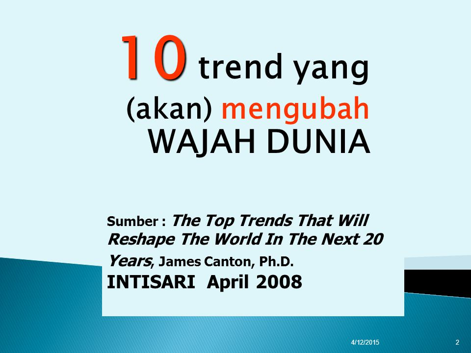 10 10 trend yang (akan) mengubah WAJAH DUNIA Sumber : The Top Trends That Will Reshape The World In The Next 20 Years, James Canton, Ph.D.