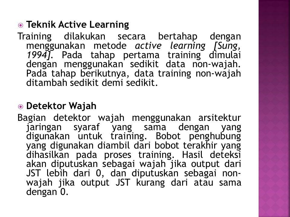  Teknik Active Learning Training dilakukan secara bertahap dengan menggunakan metode active learning [Sung, 1994]. Pada tahap pertama training dimula