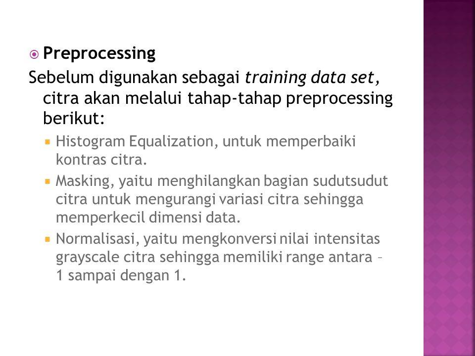  Preprocessing Sebelum digunakan sebagai training data set, citra akan melalui tahap-tahap preprocessing berikut:  Histogram Equalization, untuk mem