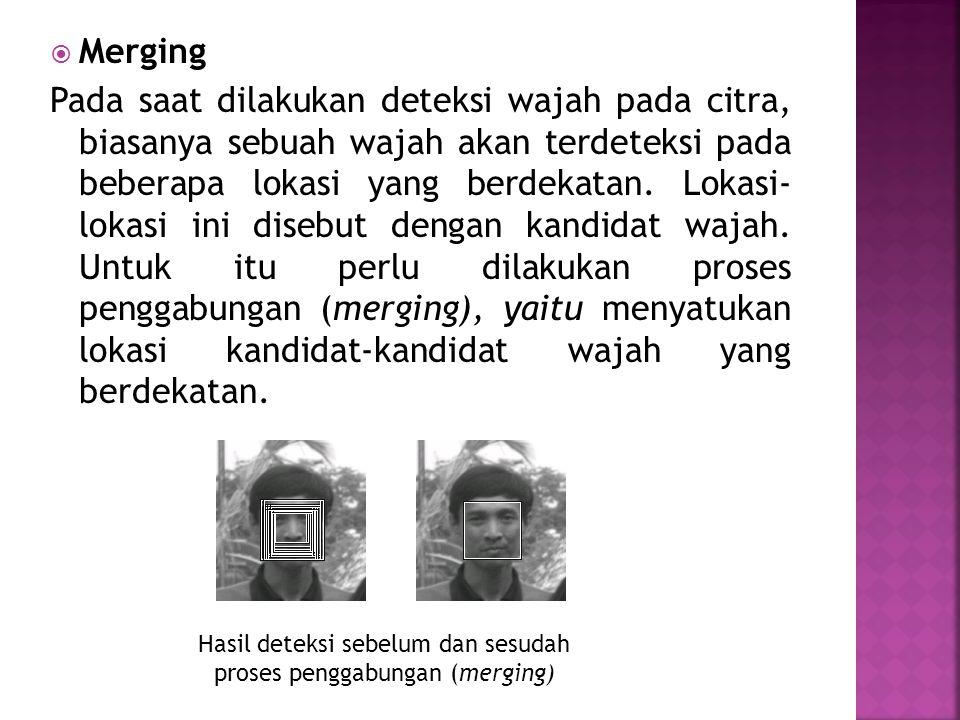  Merging Pada saat dilakukan deteksi wajah pada citra, biasanya sebuah wajah akan terdeteksi pada beberapa lokasi yang berdekatan. Lokasi- lokasi ini