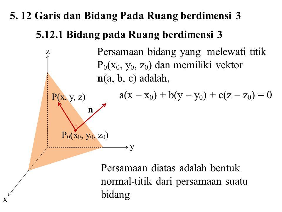 5. 12 Garis dan Bidang Pada Ruang berdimensi 3 5.12.1 Bidang pada Ruang berdimensi 3 P(x, y, z) P 0 (x 0, y 0, z 0 ) n z y x Persamaan bidang yang mel