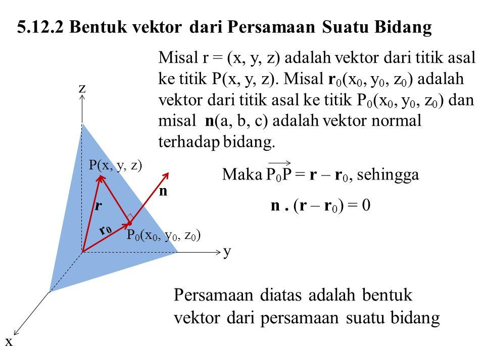 5.12.2 Bentuk vektor dari Persamaan Suatu Bidang Misal r = (x, y, z) adalah vektor dari titik asal ke titik P(x, y, z). Misal r 0 (x 0, y 0, z 0 ) ada