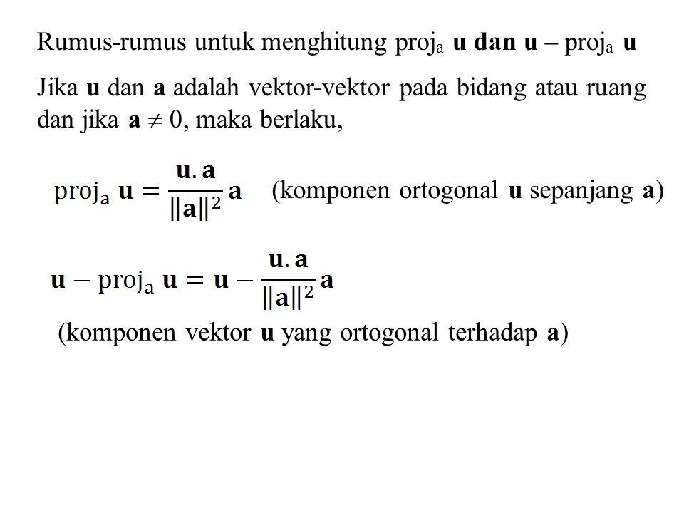 Rumus-rumus untuk menghitung proj a u dan u – proj a u Jika u dan a adalah vektor-vektor pada bidang atau ruang dan jika a  0, maka berlaku, (kompone