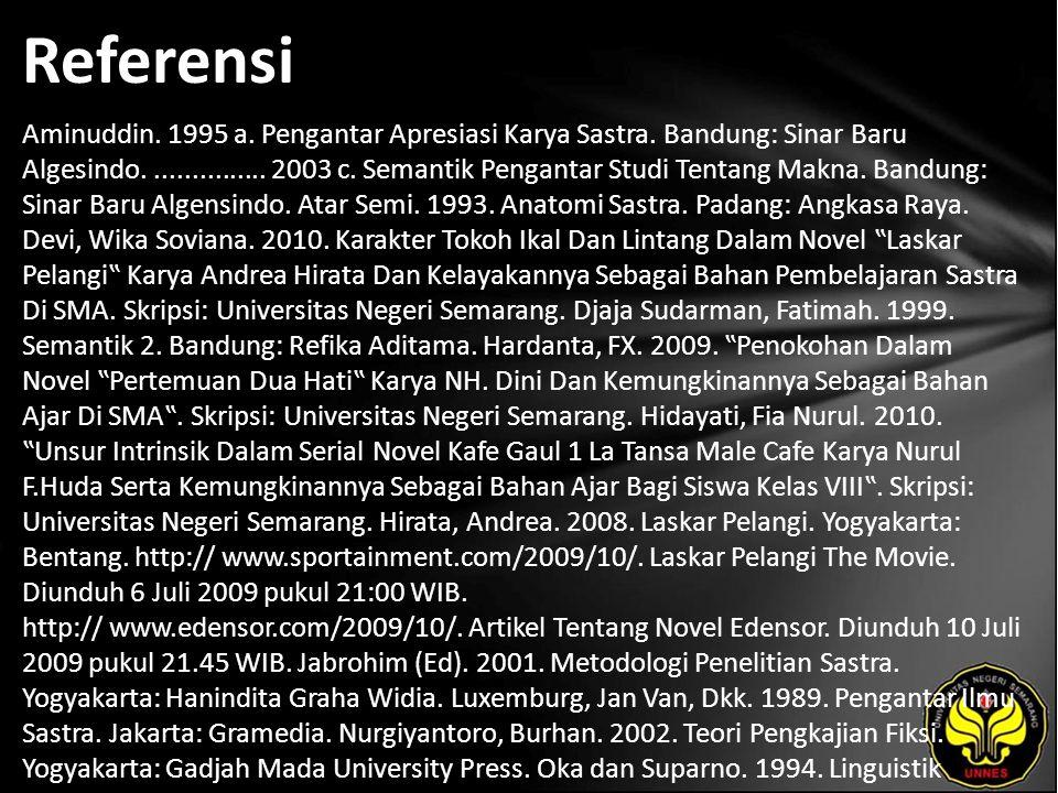 Referensi Aminuddin. 1995 a. Pengantar Apresiasi Karya Sastra. Bandung: Sinar Baru Algesindo................ 2003 c. Semantik Pengantar Studi Tentang