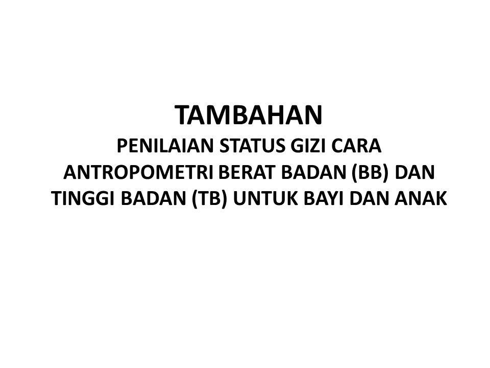 TAMBAHAN PENILAIAN STATUS GIZI CARA ANTROPOMETRI BERAT BADAN (BB) DAN TINGGI BADAN (TB) UNTUK BAYI DAN ANAK