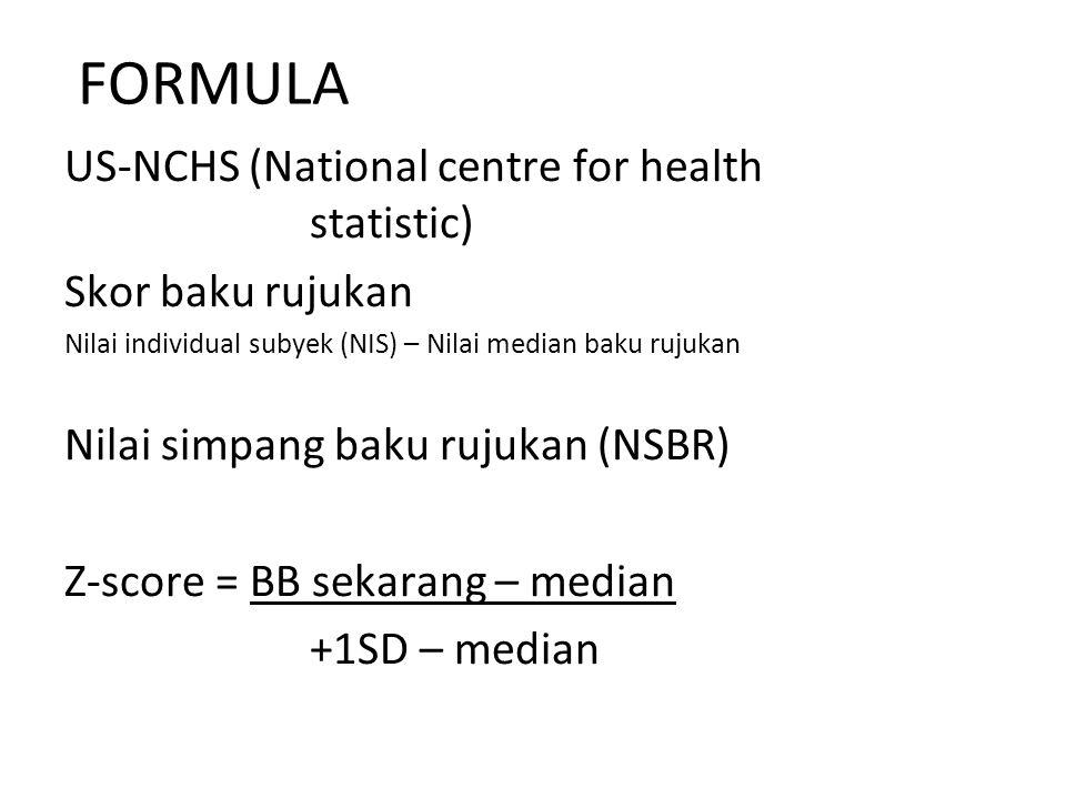 FORMULA US-NCHS (National centre for health statistic) Skor baku rujukan Nilai individual subyek (NIS) – Nilai median baku rujukan Nilai simpang baku rujukan (NSBR) Z-score = BB sekarang – median +1SD – median